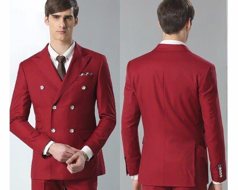 Men Red Wedding Suit Slim Fit Groom Tuxedo Groomsmen Custom Made