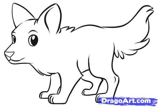 How To Draw A Simple Wolf By Dawn With Images Cute Wolf