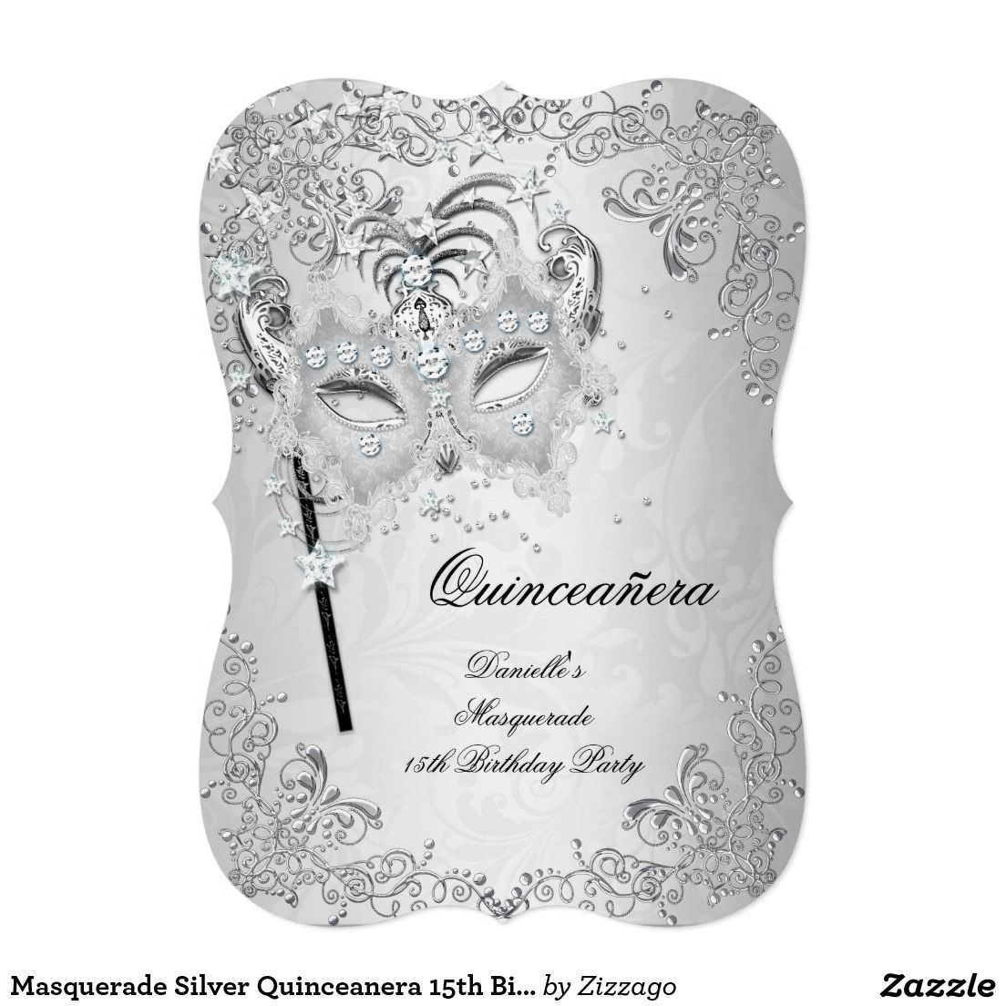 Masquerade Silver Quinceanera 15th Birthday Card | 15th birthday ...