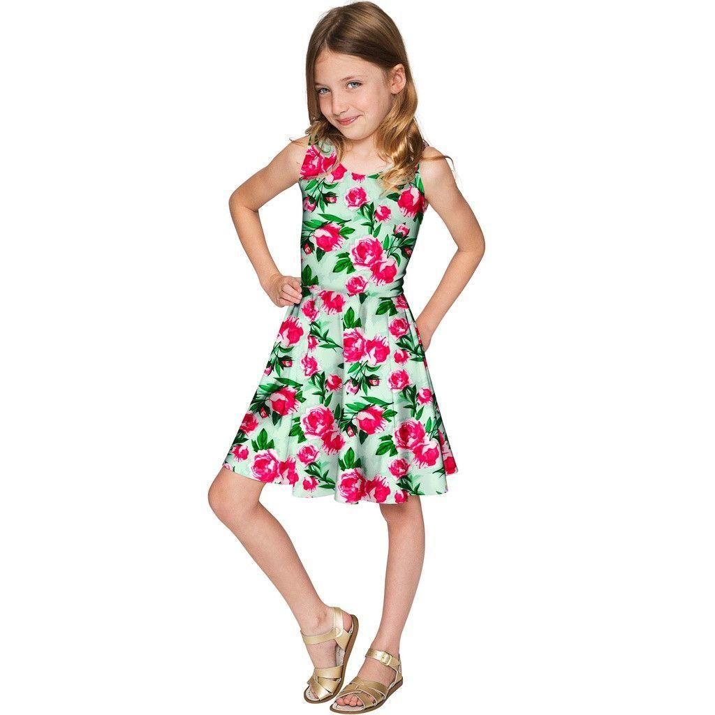 Sweetheart Mia Fit & Flare Green Flower Print Dress - Girls