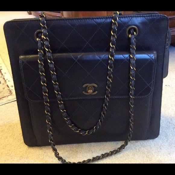 411719519242 Auth Vintage Shoulder Chanel Tote. Preowned Auth Vintage Chanel, gently used  and very well