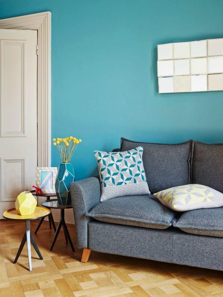 Déco salon bleu canard  peinture, mobilier et accessoires Salons