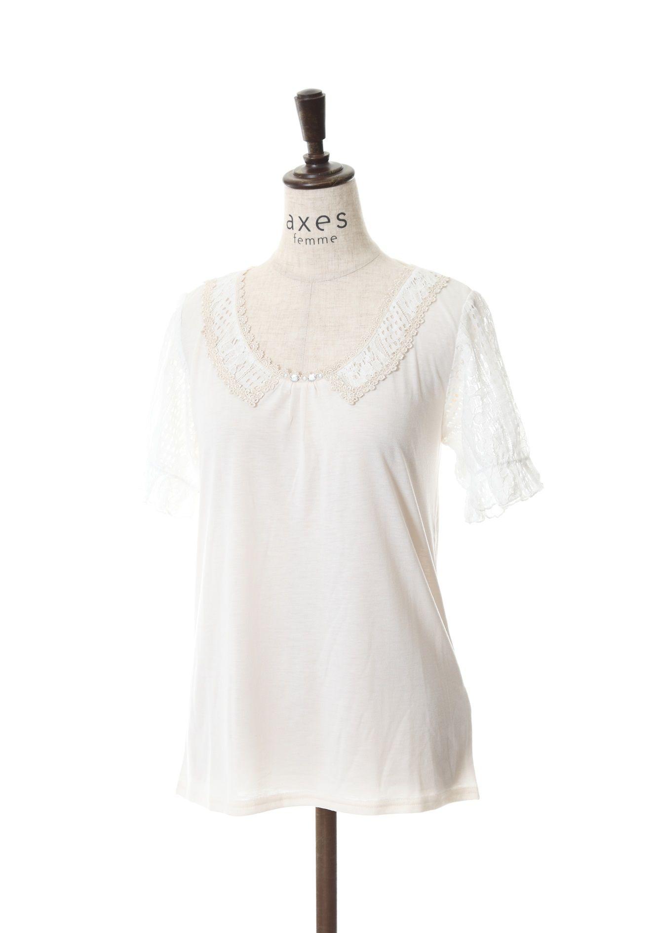 axes femme online shop|コットンレース使い半袖プルオーバー