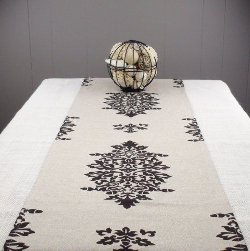 Natural Table Runner 120 Inch Long With Black Design Roma By Proper Pillow 89 00 Cotton Linen Shabby Look 120 Inches Long 17 Inches Wide Dark Chocolate