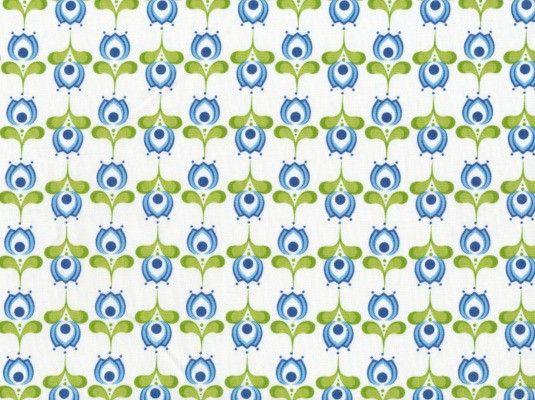 Popeline Tante Ema Blumengrüße weiß-blau