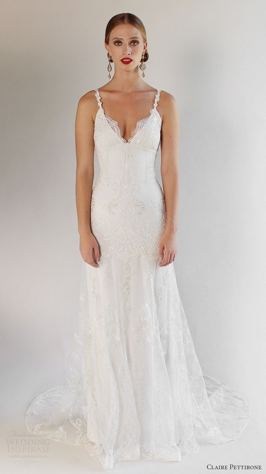 11976b0a5c2 claire pettibone bridal spring 2017 sleeveless spaghetti straps vneck  trumpet lace wedding dress (santa monica) mv