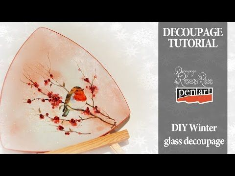 English subtitles - glass decoupage winter decoupage on glass decoupage tutorial - DIY colaboration - YouTube
