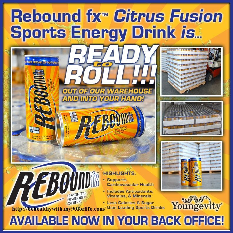 REBOUND fx  The safest Energy Drink.  CAFFEINE FREE less then 9 gr of sugar  Gives you energy to continue pushing yourself