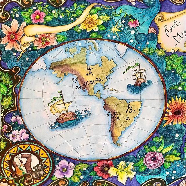 From Lizzie Mary Cullen's The Magical Journey.  Left side.   #coloringforadults   #coloringmasterpiece   #magicalcitycoloringbook   #wonderfulcoloring   #boyan_bayan   #arte_e_colorir   #artecomoterapia   #adultcoloringbook   #lizziemarycullen   #libridacolorareperadulti  #themagicaljourney