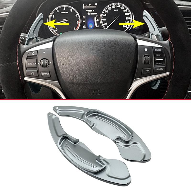 2Pcs Faced Gray Aluminum Steering Wheel Gear Shifter Ex