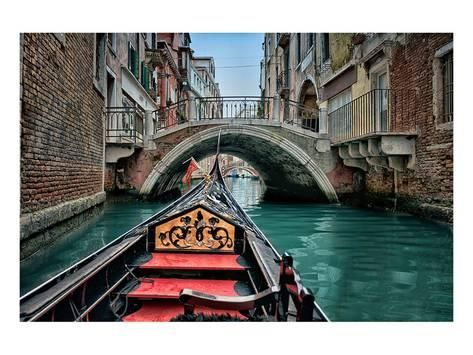 Gondola In Small Canal Venice Art Print Stretched Canvas Prints Landscape Poster Venice