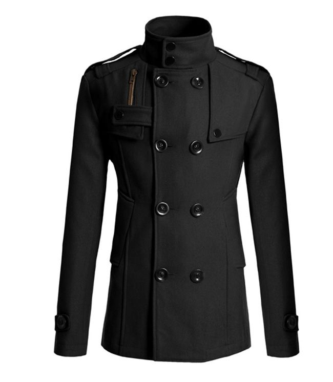 Korean Turndown Collar Double-Breasted Long Sleeves Polyester Trench Coat For Men, NAVY, L in Jackets & Coat | DressLily.com