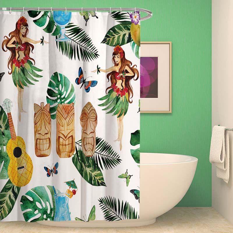 Rideau de douche impression style tropical pour salle de bain