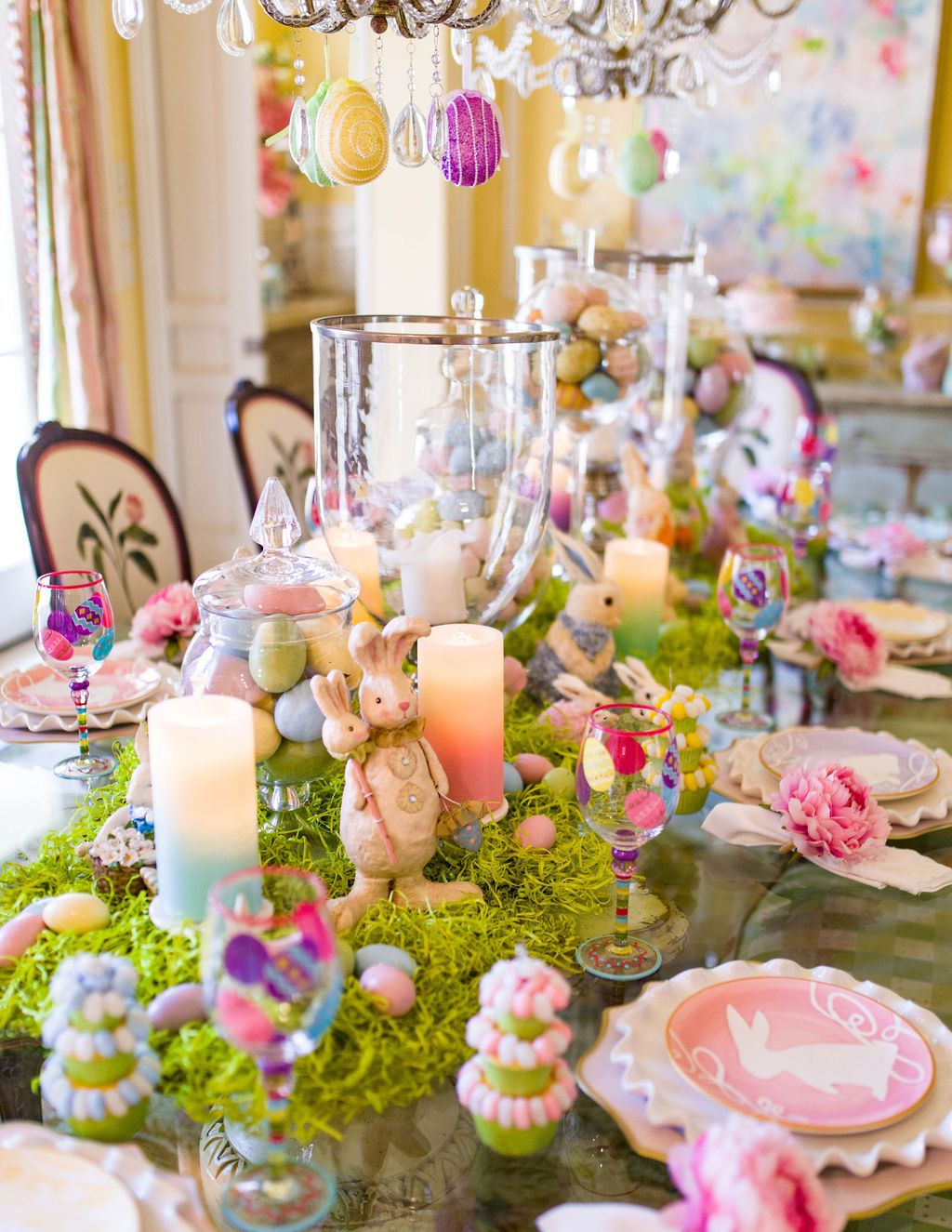 Turtle Creek Lane Easter Entryway And Dining Room Turtle Creek Lane Easter Table Decorations Easter Party Decor Easter Tablescapes