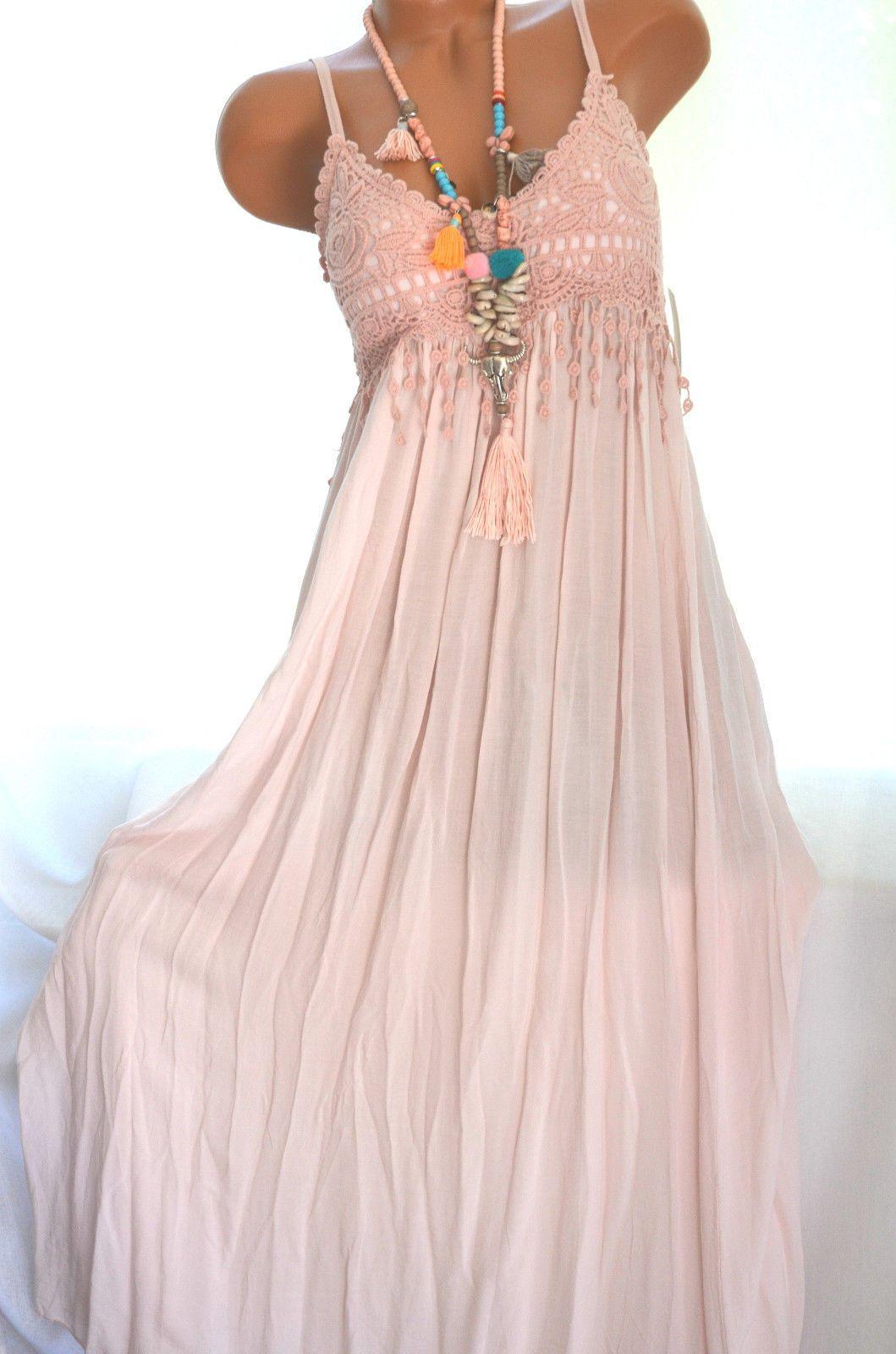 ITALY Sommer Kleid IBIZA Hippie Strandkleid mit Spitze Weiß 18 18