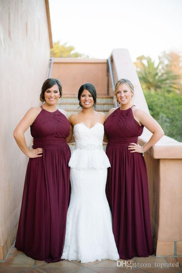 87197d8ee4b04 Elegant Burgundy Plus Size Chiffon Long Bridesmaid Dresses Halter ...