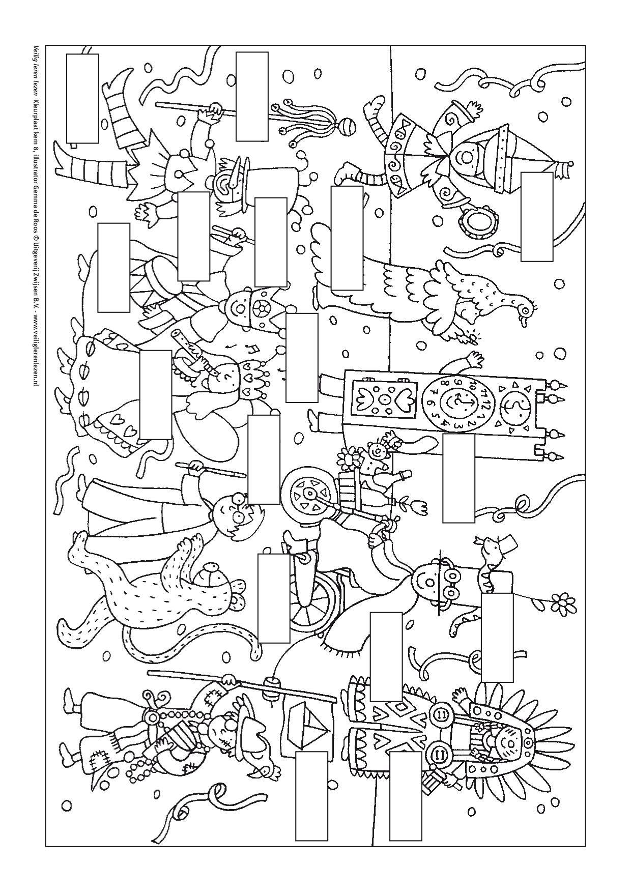 kleurplaat kern 8 met opdracht veilig leren lezen