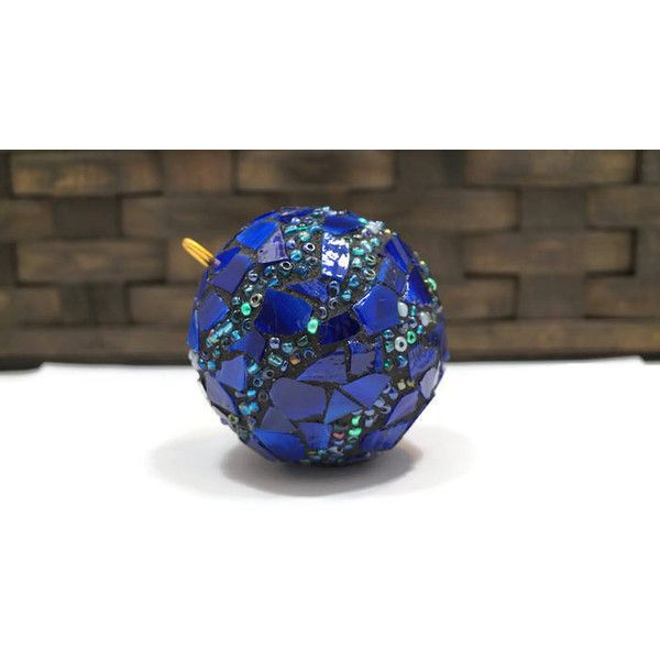 Blue Christmas Ornament, Mosaic Ornament, Stained Glass Ornament