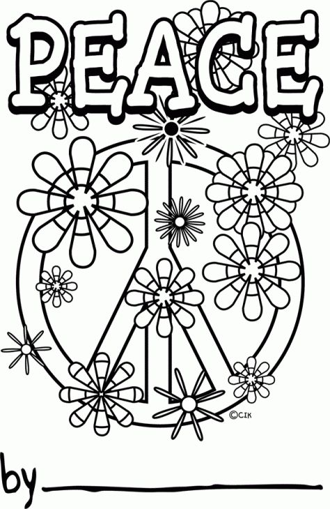 Free Printable Peace Sign Doodle Art Coloring Page For Grown Ups