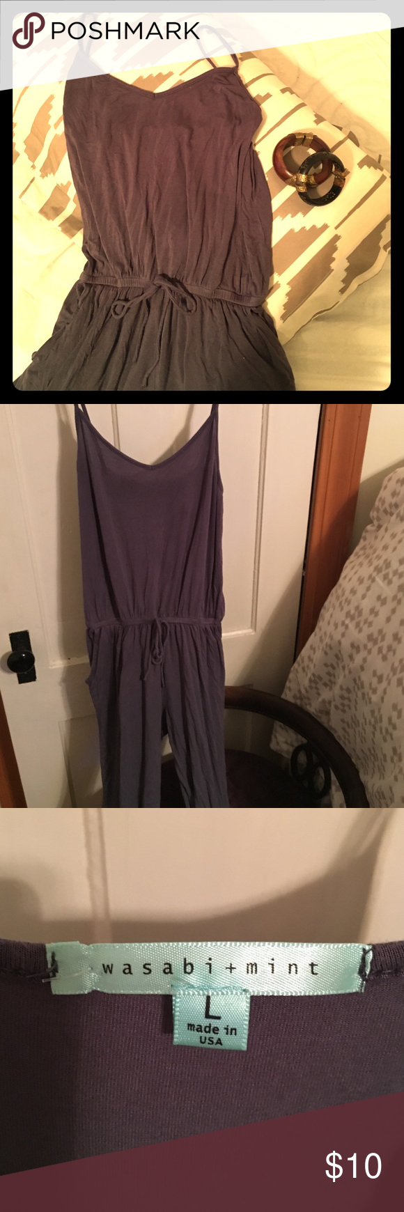 UO Slate Gray Jumpsuit Slate gray jersey cotton jumpsuit , urban outfitters, wasabi + mint. size large, true to size, very comfortable! Urban Outfitters Pants Jumpsuits & Rompers