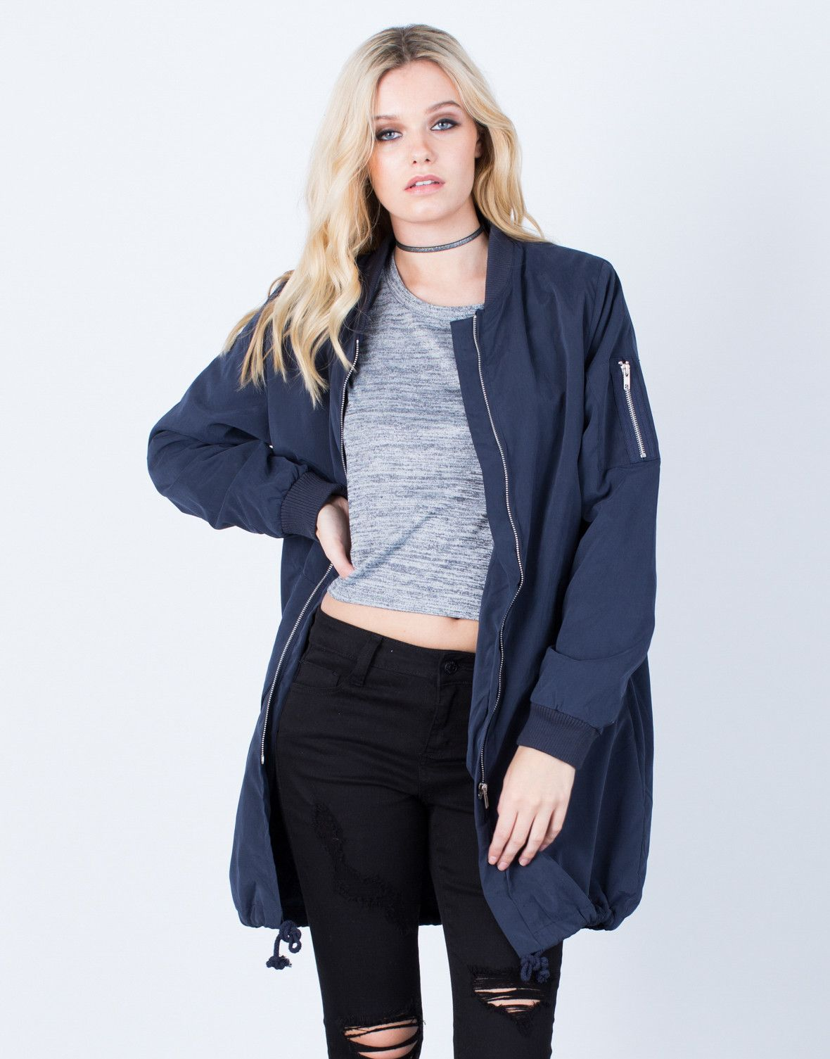 Oversized Longline Bomber Jacket | Long bomber jacket
