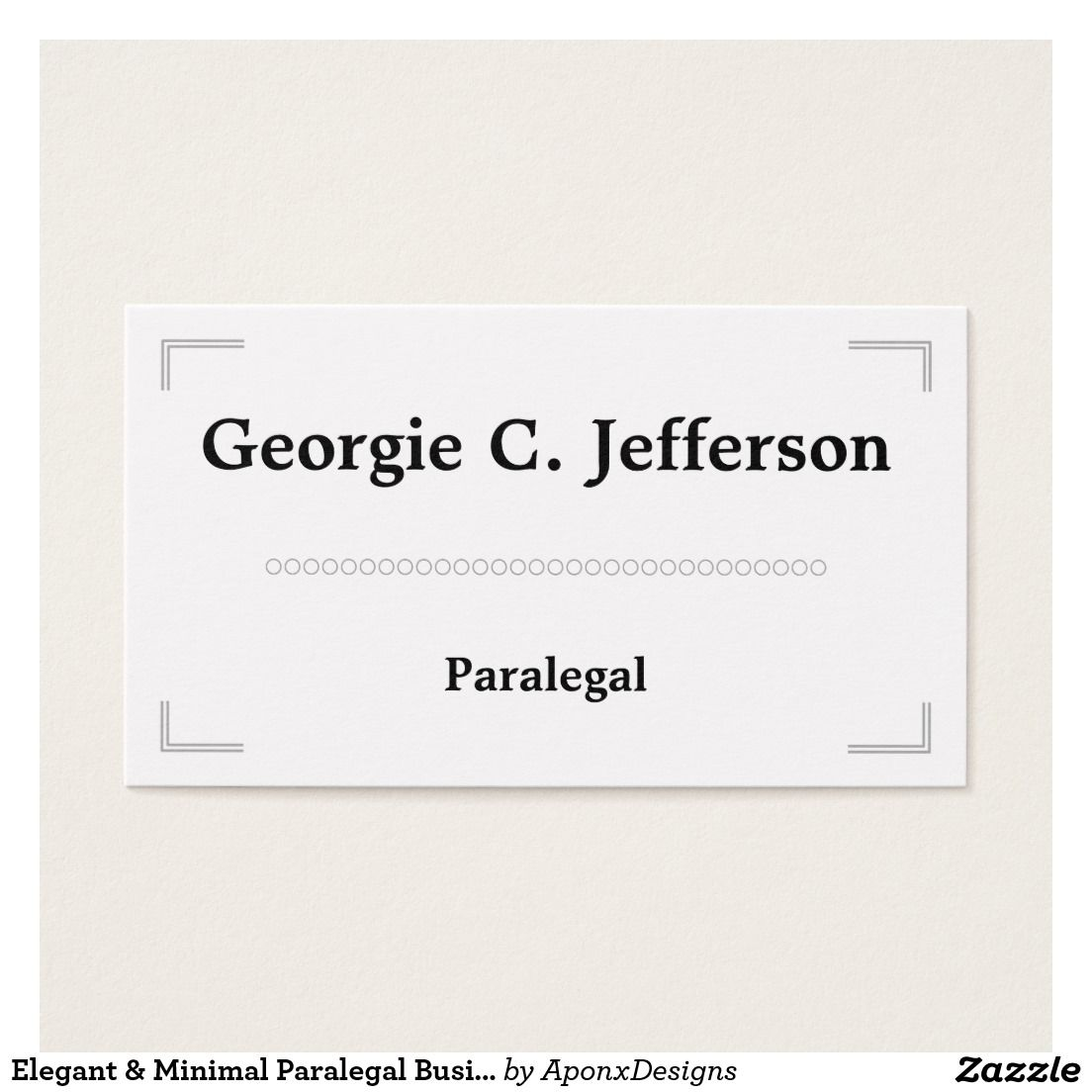 Elegant & Minimal Paralegal Business Card | Customizable Business ...