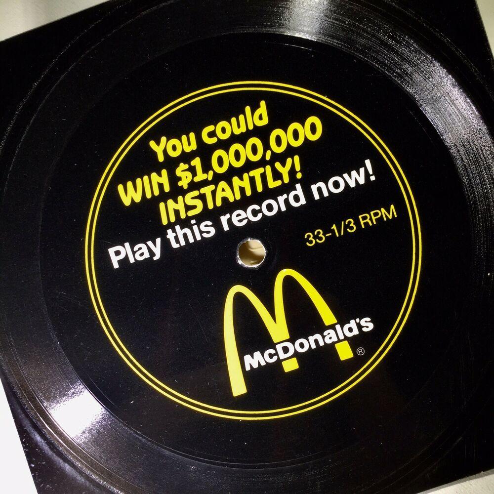 Play Mcdonald S Million Dollar Menu Song 1988 Unpunched Promo Record Near Mint Mcdonalds Nonmusic Advertising Prizes Songs Records Mcdonalds