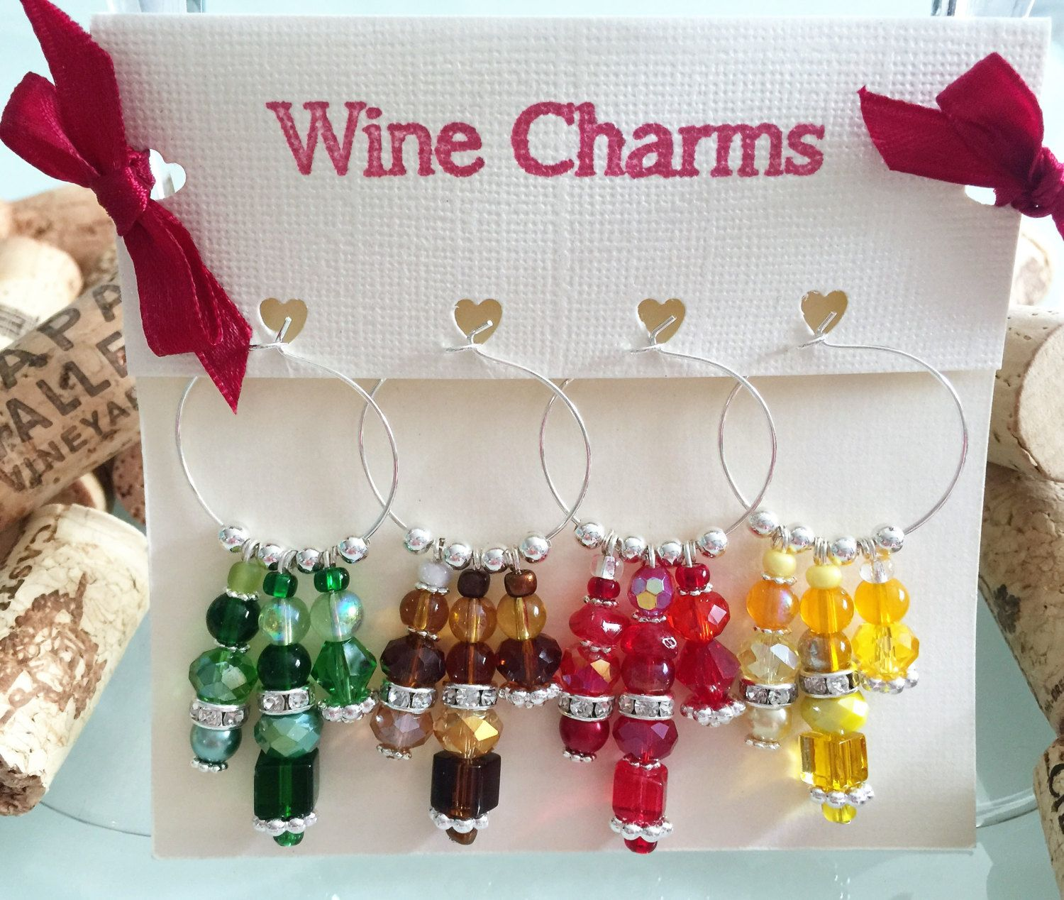 Personalised Glass Charm Wine Gift Birthday Wedding Favour Party Supplies Beaded Charm