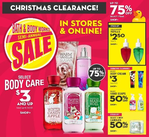 Christmas Clearance 75 Off.Hot Bath Body Works Huge 75 Off Semi Annual Sale And