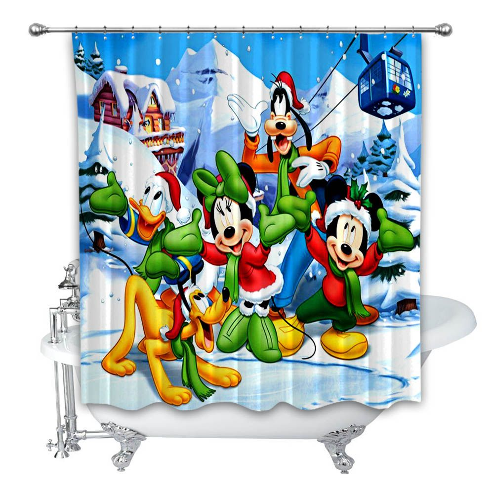 Merry Christmas Micky Disney Custom Print Polyester Waterproof Shower Curtain
