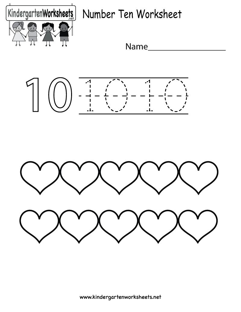 Kindergarten Number Ten Worksheet Printable | Proyek untuk dicoba ...