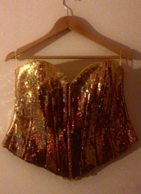cfdb05ea59b Holographic Iridescent Gold Sequin Corset Plus Size 20 22 Festival Rave One  Off