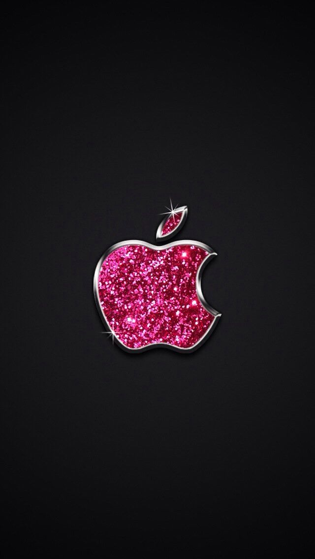 sparkle pink apple logo wallpaper simply beautiful