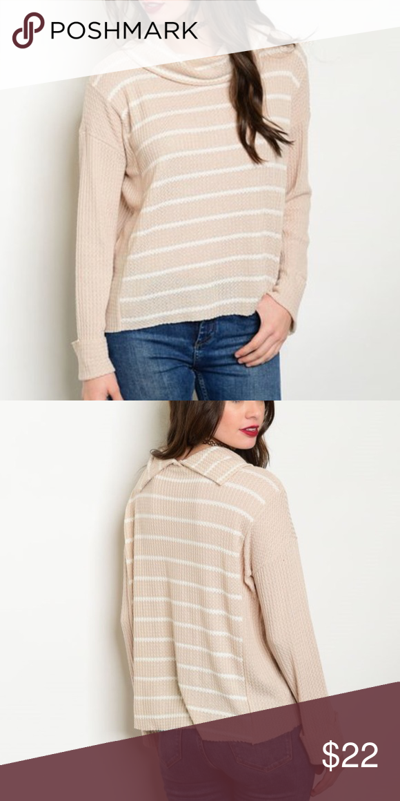 """Striped Cowl Neck Sweater This soft and comfy too is ready to wear with your favorite jeans.  Long sleeve striped sweater with a split cowl neck to reduce the bulk.  -Raw edges  96% Rayon/ 4% Spandex  Made in USA🇺🇸  Measurements for size small:  Length: 24"""" Bust: 30"""" Waist 30""""  *Also available in black   🚫Trades✅Bundle to save Fresh Fashion Boutique Tops Tees - Long Sleeve"""