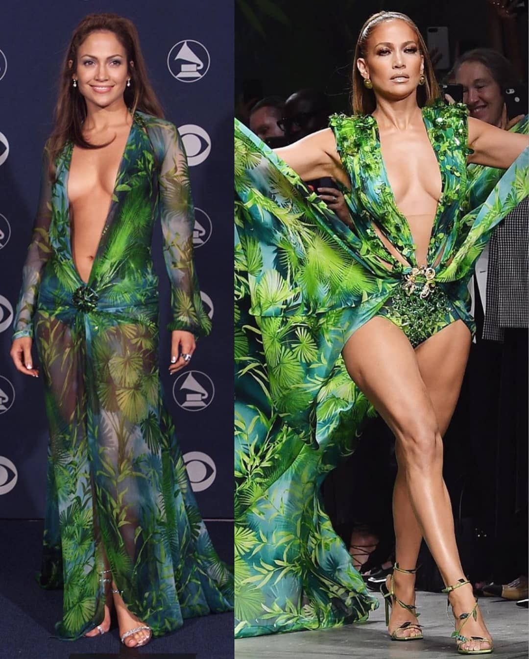 Jennifer Lopez Walked The Versace Spring Summer 2020 Runway Wearing A Sultry Jungle Print Dress Which She Wore 20 Years Ago At The Grammys Hungryboo Jennifer Lopez Green Chiffon Dress Green Dress [ 1344 x 1080 Pixel ]