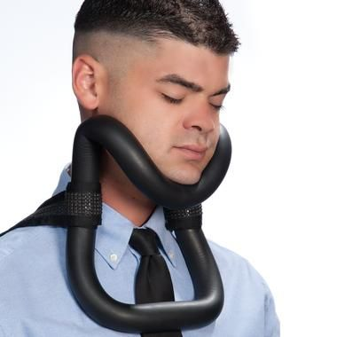 OK, this is probably not something you should take on a cruise vacation...or anywhere.     Resembling some sort of torture device or medical-grade neck brace, this great product promises to help you sleep on the plane by preventing your head from moving forward or back. wtf