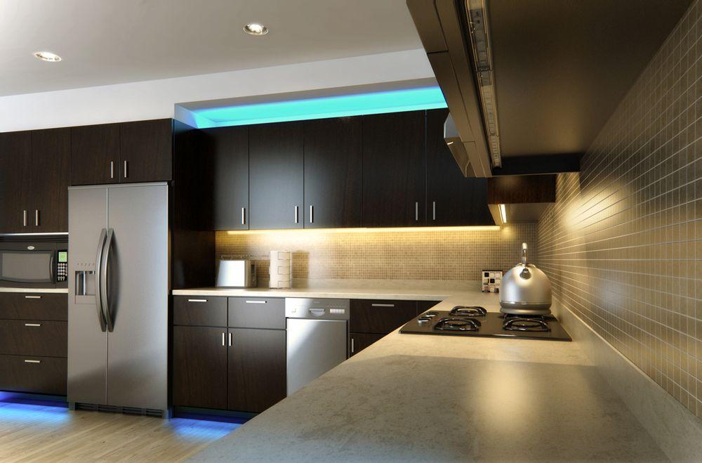 Led Linear Light Bar Fixture Inside Kitchen Cabinets Kitchen