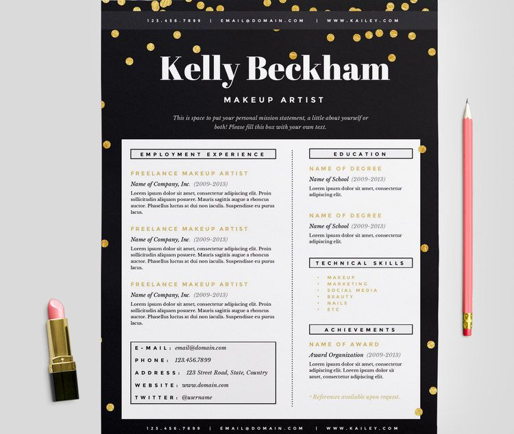 Sparkling Gold Makeup Artist Resume Template #resume #coverletter - make up artists resume