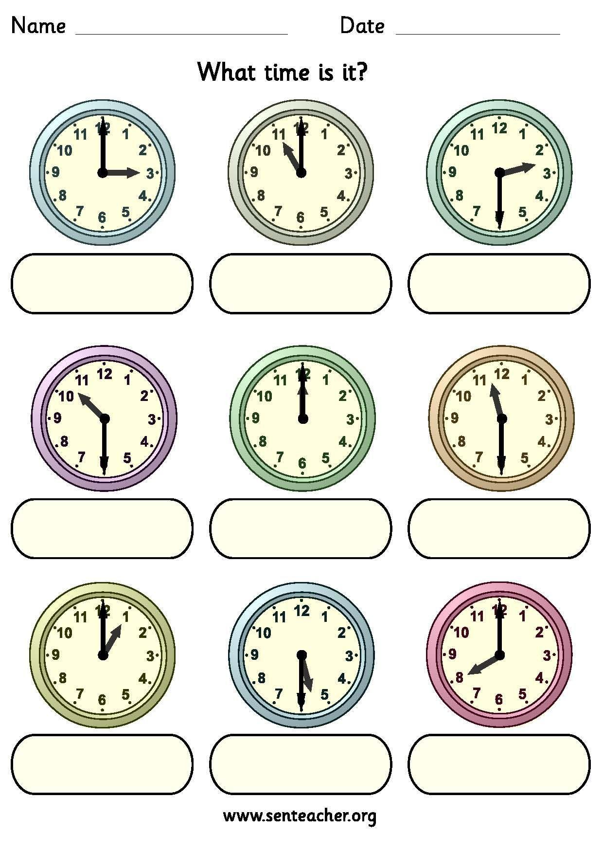 Clock Worksheet For Kindergarten In