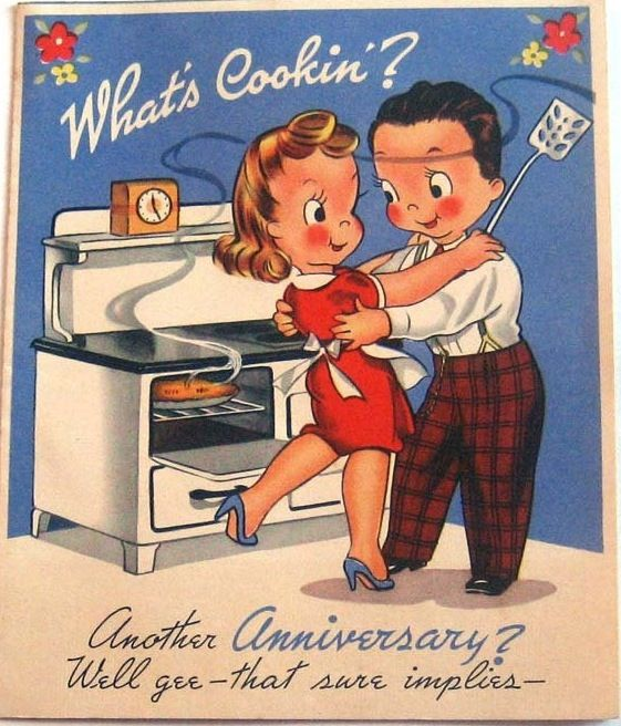 Another 50s Anniversary Card With The Wife In The Kitchen Vintage Greeting Cards Vintage Birthday Cards Cards