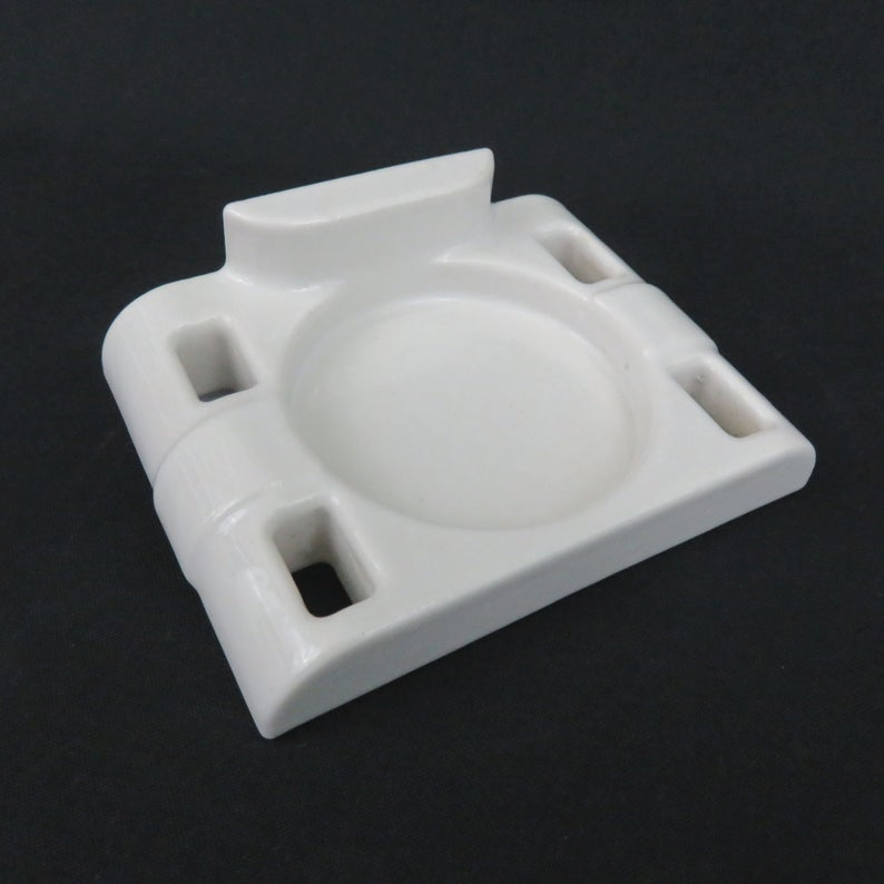Photo of White Porcelain Wall Mount Glass and Toothbrush Holder – 4 Slots – Vintage Bathroom Fixtures