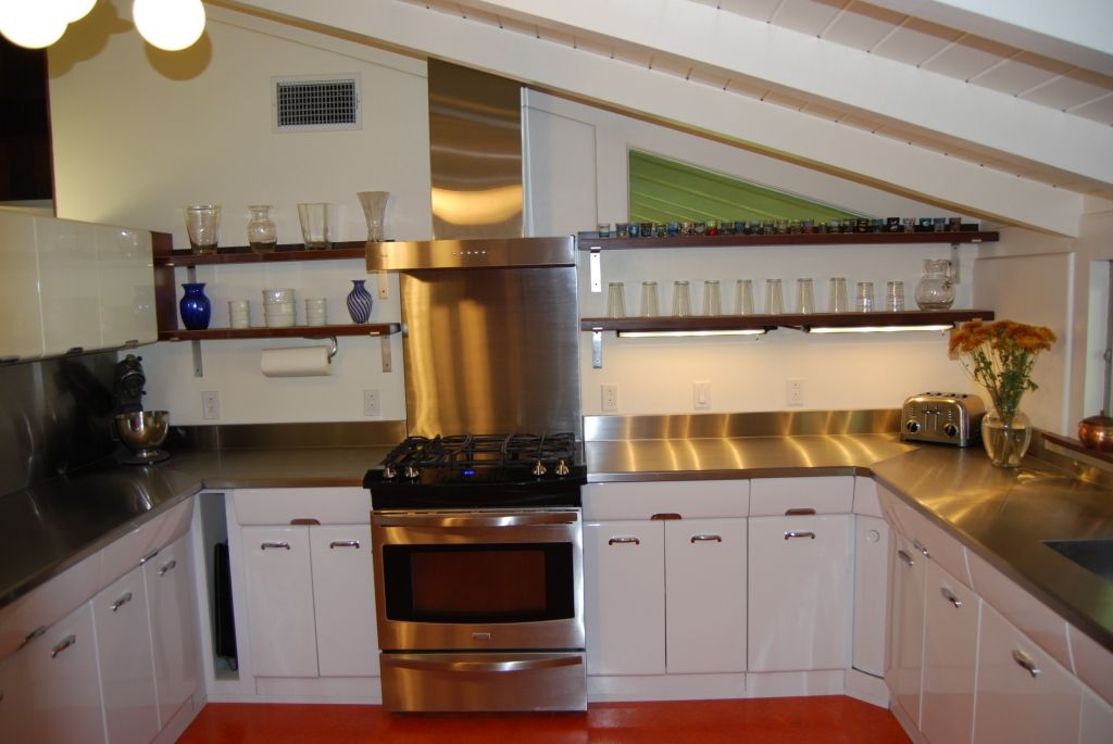 Best Photo Of Stainless Steel Counters And Redwood Shelving 400 x 300