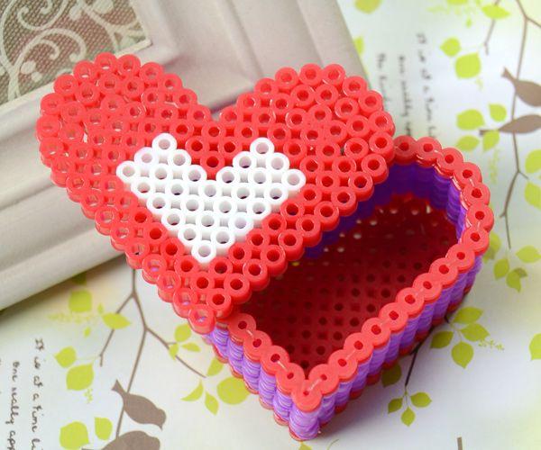 Perler Bead Red Heart Box Fun Family Crafts 3d Perler Bead