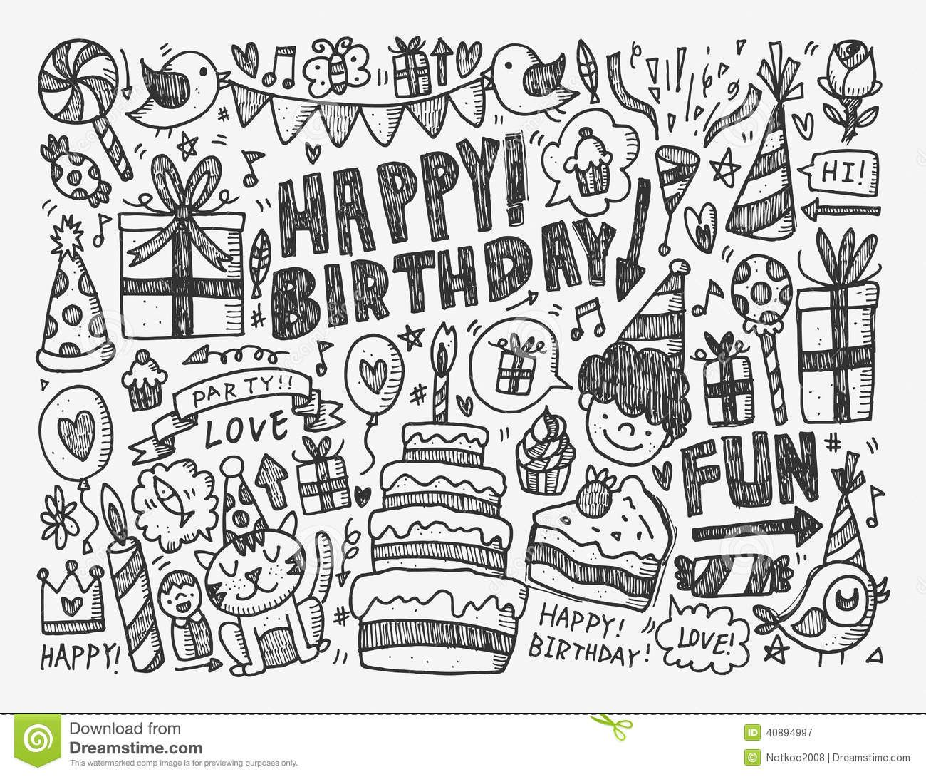 doodle birthday party background download from over 36 million