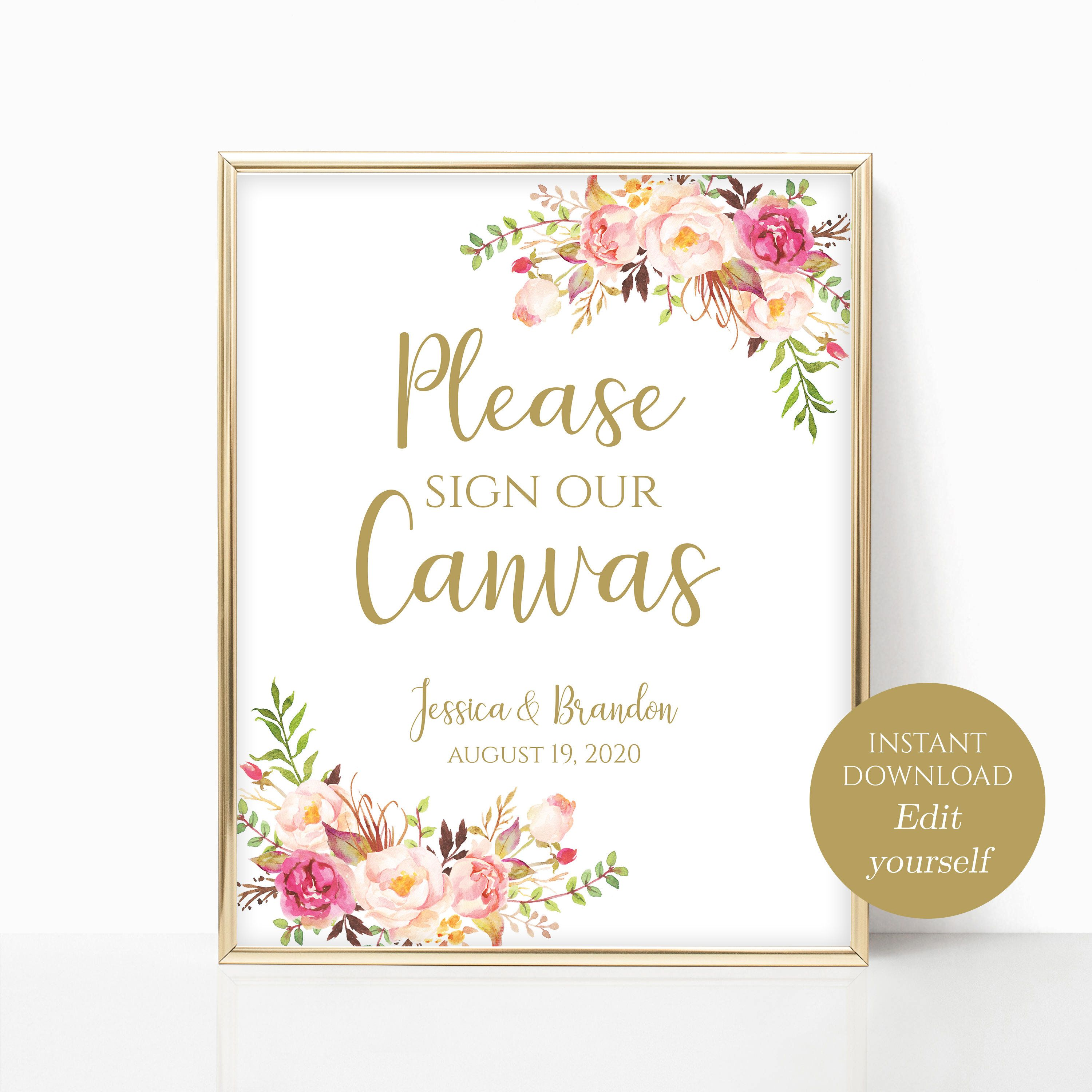 Please Sign Our Canvas Wedding Sign Printable Guest Book Etsy Wedding Signs Guest Book Sign Printable Signs