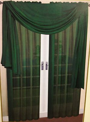 2 Pc Solid Hunter Green Voile Sheer Window Panels Drapes Curtains Valance On EBay