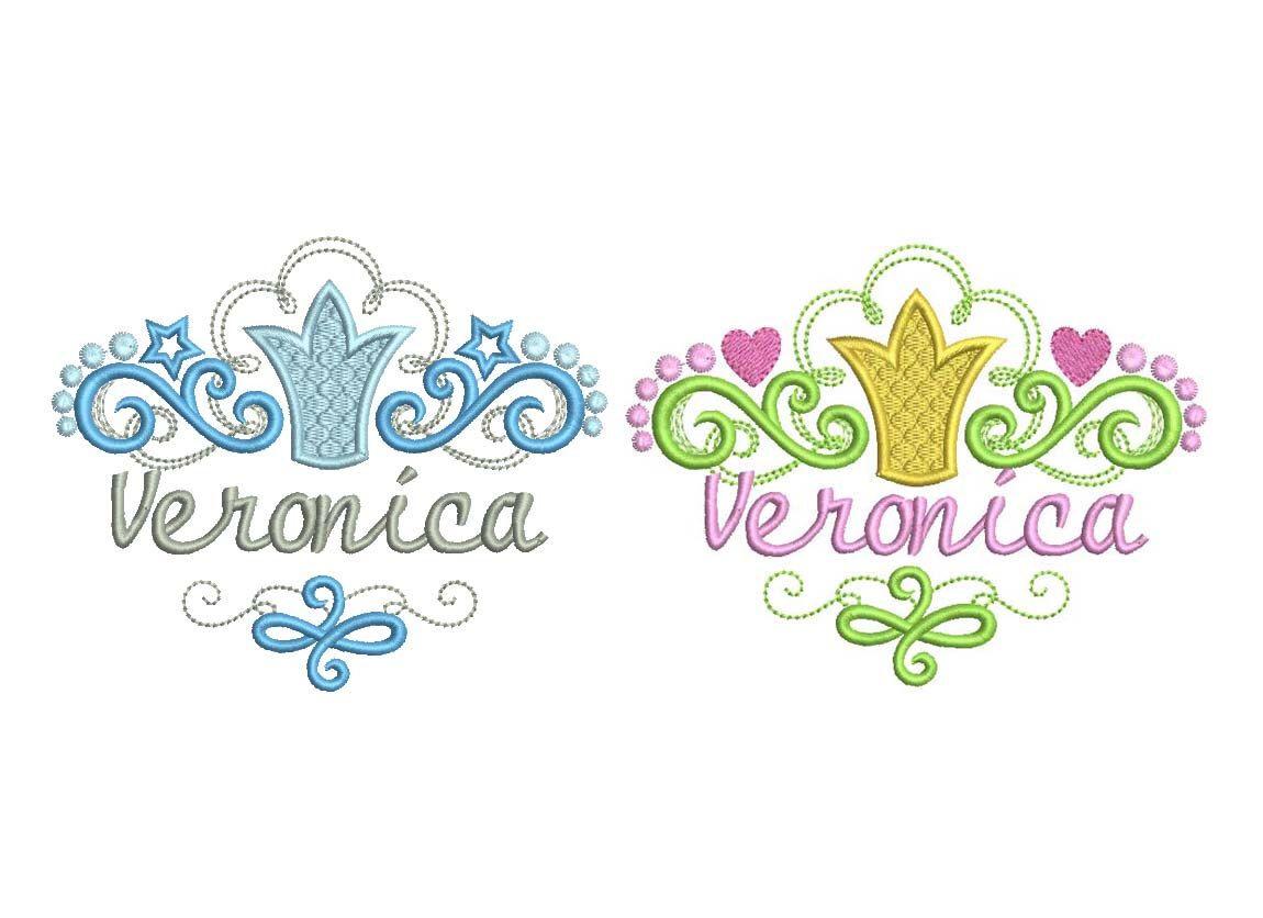 Princess Font Frames Set Stars Hearts Crown Embroidery Designs FF015 ...