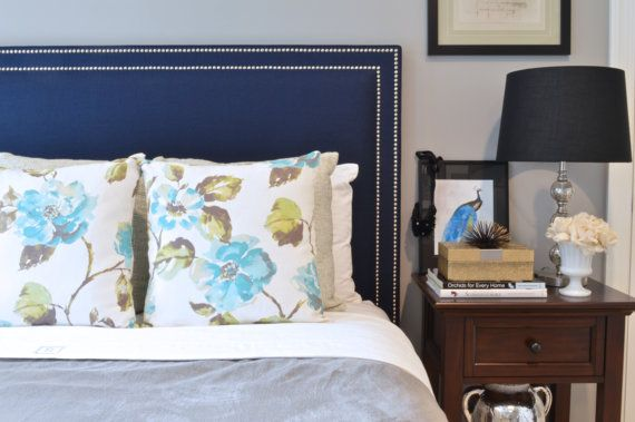 Upholstered Headboard King Queen Full Twin Size Oxford Shape Navy Blue Linen Fabric Double Row