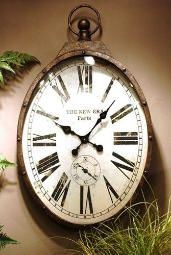 Warehouse Vintage Style Large Oval Shaped Pockech Wall Clock 37