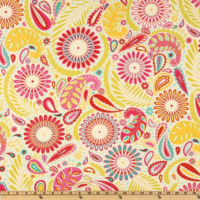 Beautiful Kumari Garden Sanjay Pink From Designed By Dena Designs For Free Spirit,  This Cotton Print Fabric Features A Paisley And Floralu2026